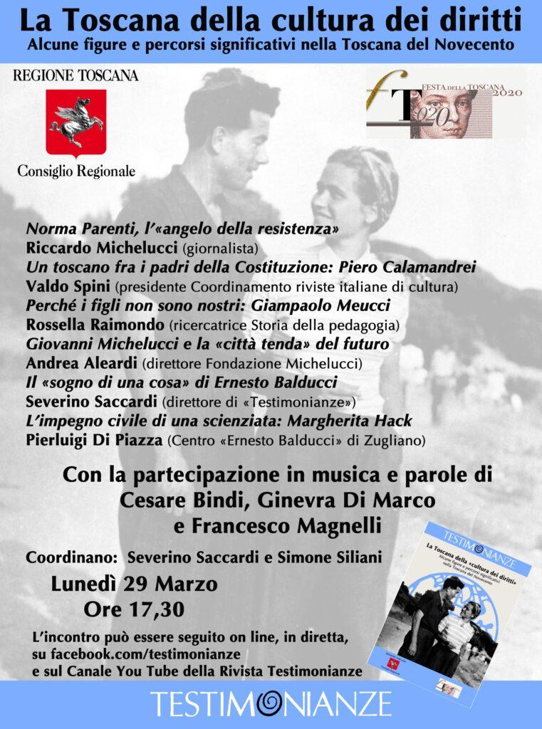 Webinar – La Toscana della cultura dei diritti. Figure e percorsi significativi della Toscana del Novecento